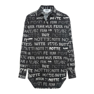 Chemise Coton Imprimé Noir Blanc