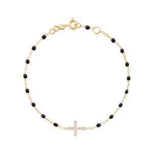 Bracelet Résine Croix Vintage Diamants Or Jaune