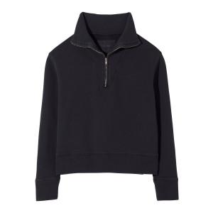 Sweatshirt Zippé Bentley Coton Noir Délavé