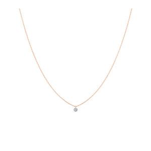 Collier 360° Diamant Brillant 0,07 Or Rose