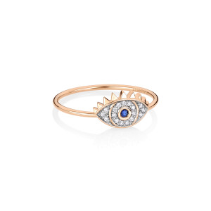 Bague Ajna Saphir Diamants Or Rose