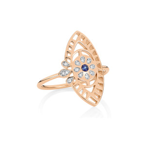 Bague Ajna Large Saphir Diamants Or Rose