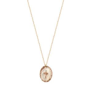 Collier Ovale Croix Argent Blanc
