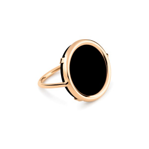 Bague Disc Or Rose Onyx