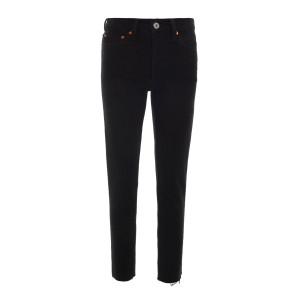 Jean Crop Taille Haute Noir