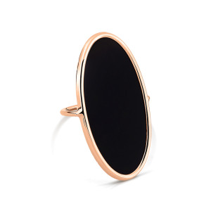 Bague Ellipse Large Or Rose Onyx