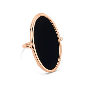 Bague Ellipse Or Rose Onyx