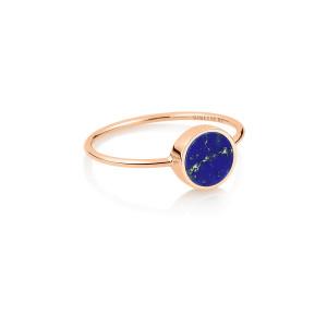 Bague Ever Mini Disc Or Rose Lapis Lazuli