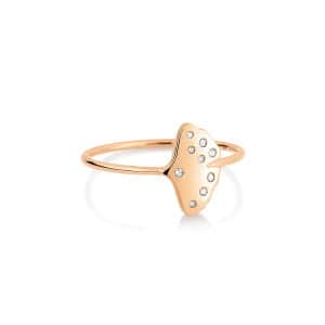 Bague Gingko Simple Diamants Or Rose