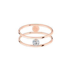 Bague Hula Hoop Diamant 0,10 Or Rose