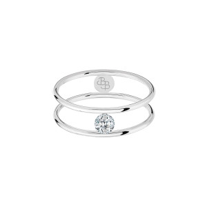 Bague Hula Hoop Diamant 0,10 Or Blanc