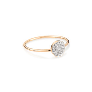 Bague Mini Ever Mini Disc Or Rose Diamants