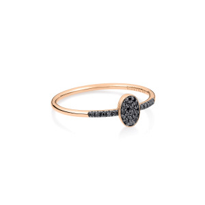 Bague Sequin Or Rose Diamants Noirs