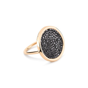 Bague Ever Large Disc Or Rose Diamants Noirs