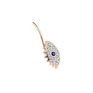 Boucle d'oreille Ajna Saphir Diamants Or Rose (vendue à l'unité)