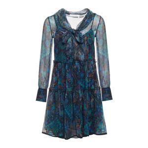 Robe Transparente Imprimé Multicolore Bleu