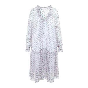Robe Transparente Soie Imprimé Blanc