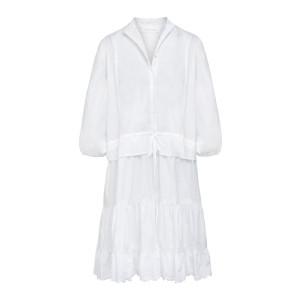Robe Volants Coton Blanc