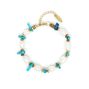 Bracelet Turquoise Perles Plaqué Or