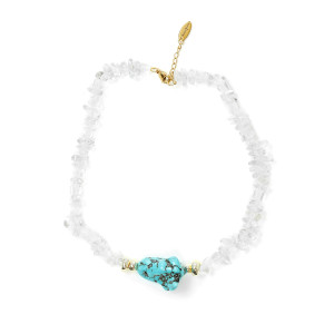 Collier Plax Turquoise Plaqué Or