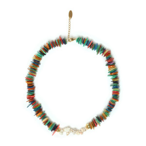 Collier Pierres Multi Couleurs Plaqué Or
