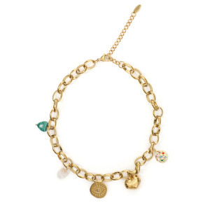 Collier Chaine Charms Multicolore Plaqué Or