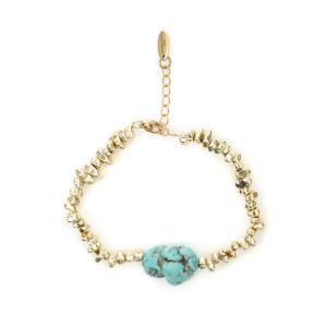Bracelet Espodi Turquoise Hématite Plaqué Or