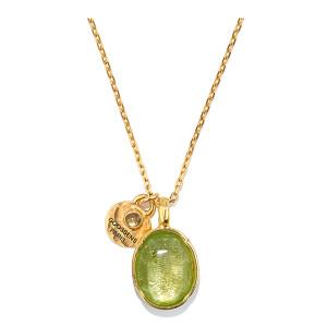 Collier Talisman Cabochon Cristal de Roche Vert