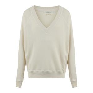 Sweatshirt Col V Coton Blanc