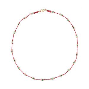 Collier Lotus Rouge Rubis-Zoïsite Plaqué Or