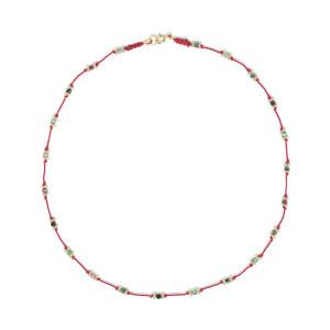 Sautoir Lotus Rouge Rubis-Zoïsite Plaqué Or