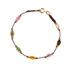 Bracelet Tulsi Tourmaline Multicolore Plaqué Or