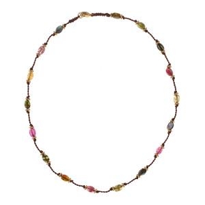 Collier Tulsi Tourmaline Multicolore Plaqué Or