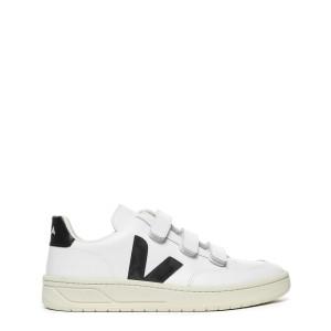 Baskets V-12 Velcro Cuir Blanc Noir