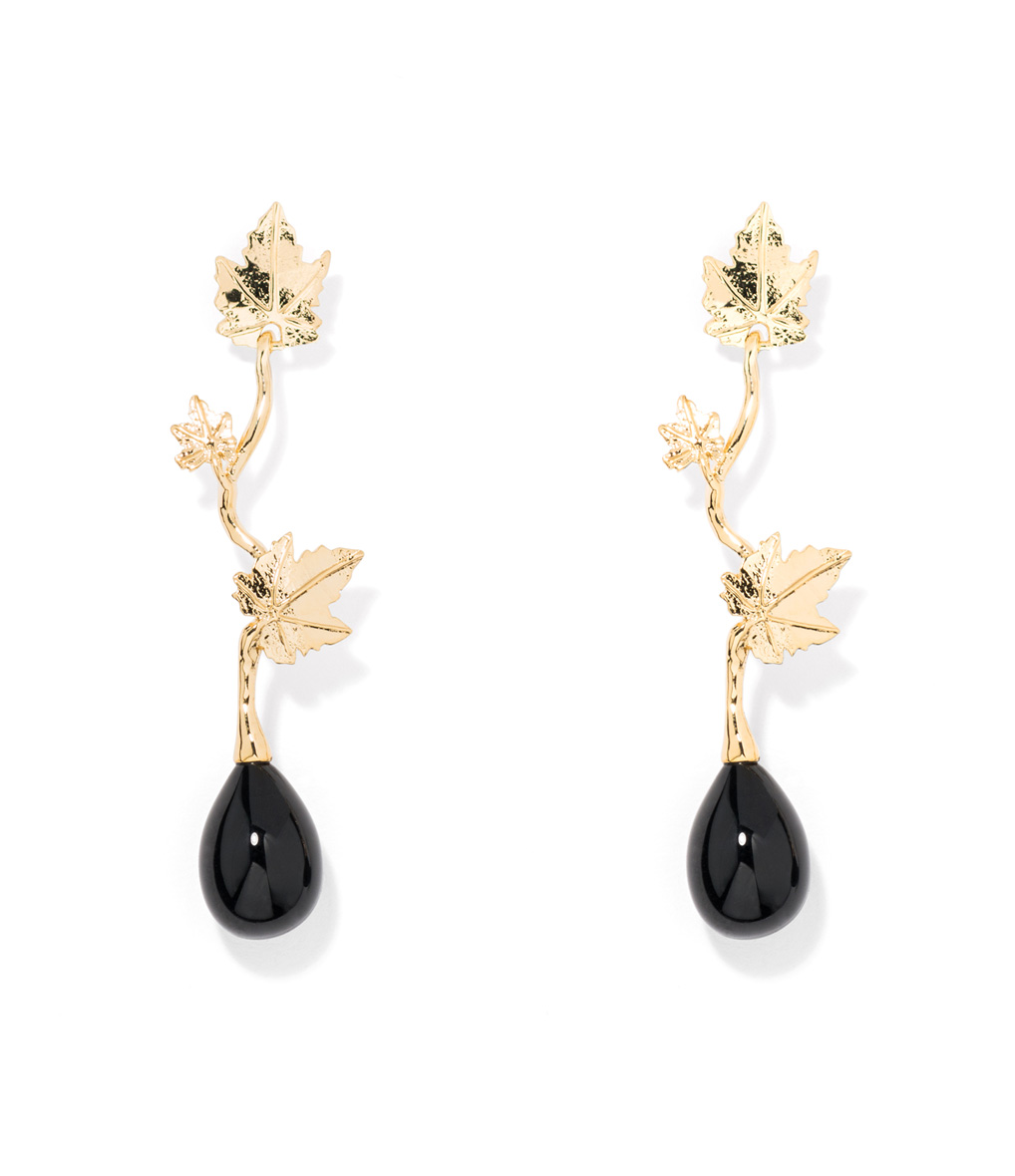 Boucles d'oreilles Vitis Agate Noir