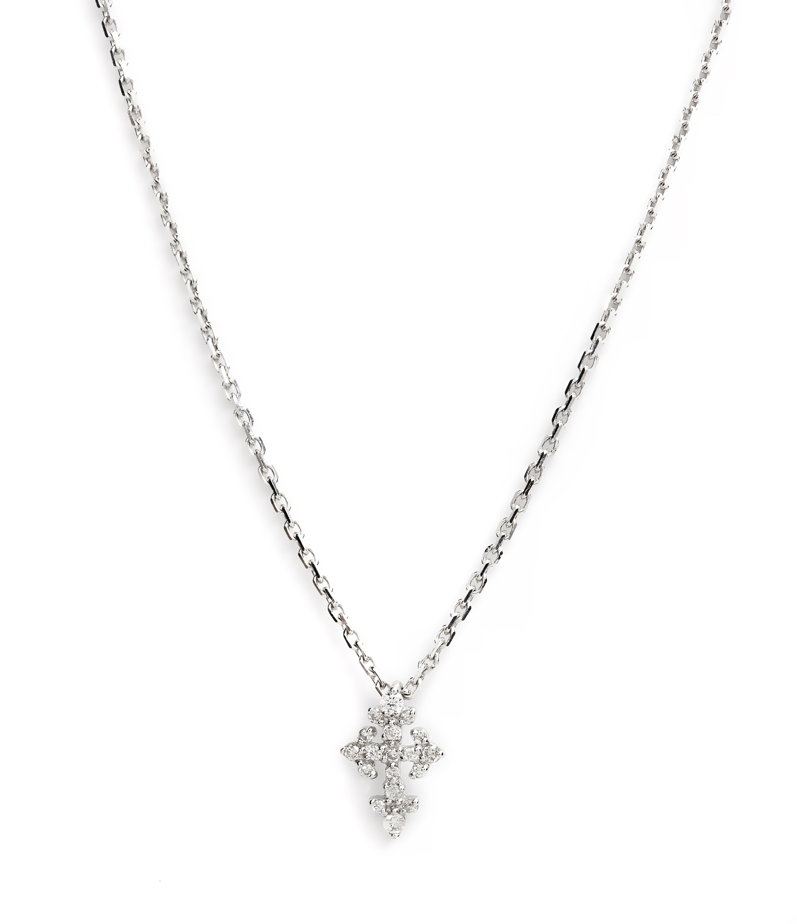 Collier Mini Croix Lys Diamants 18K