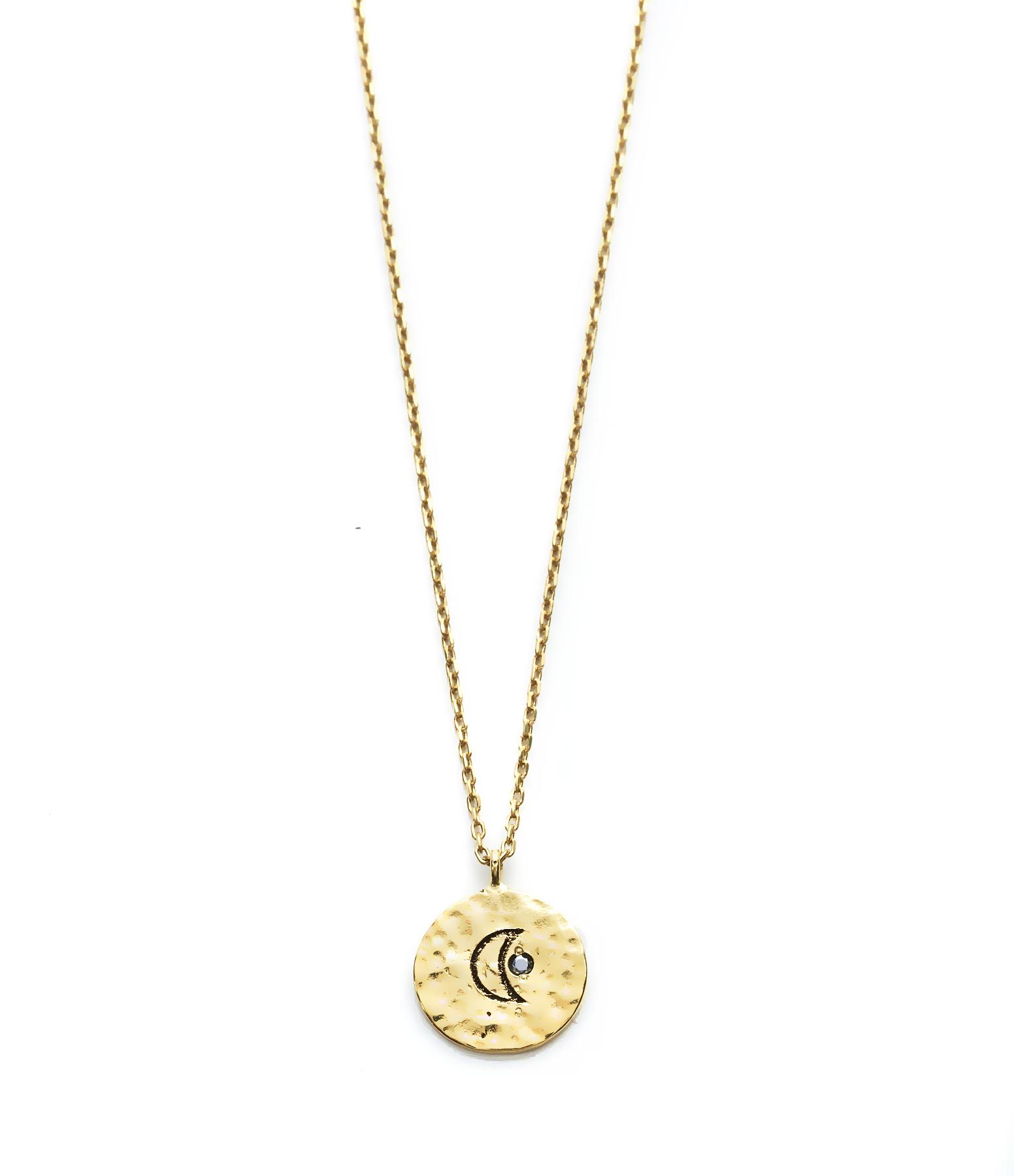 Collier Court Médaille Lune Ibiza 9K