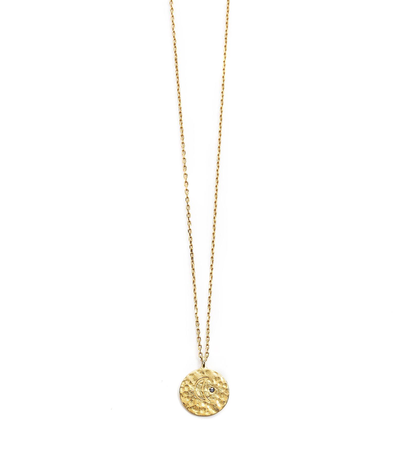 Collier Long Médaille Lune Ibiza 9K