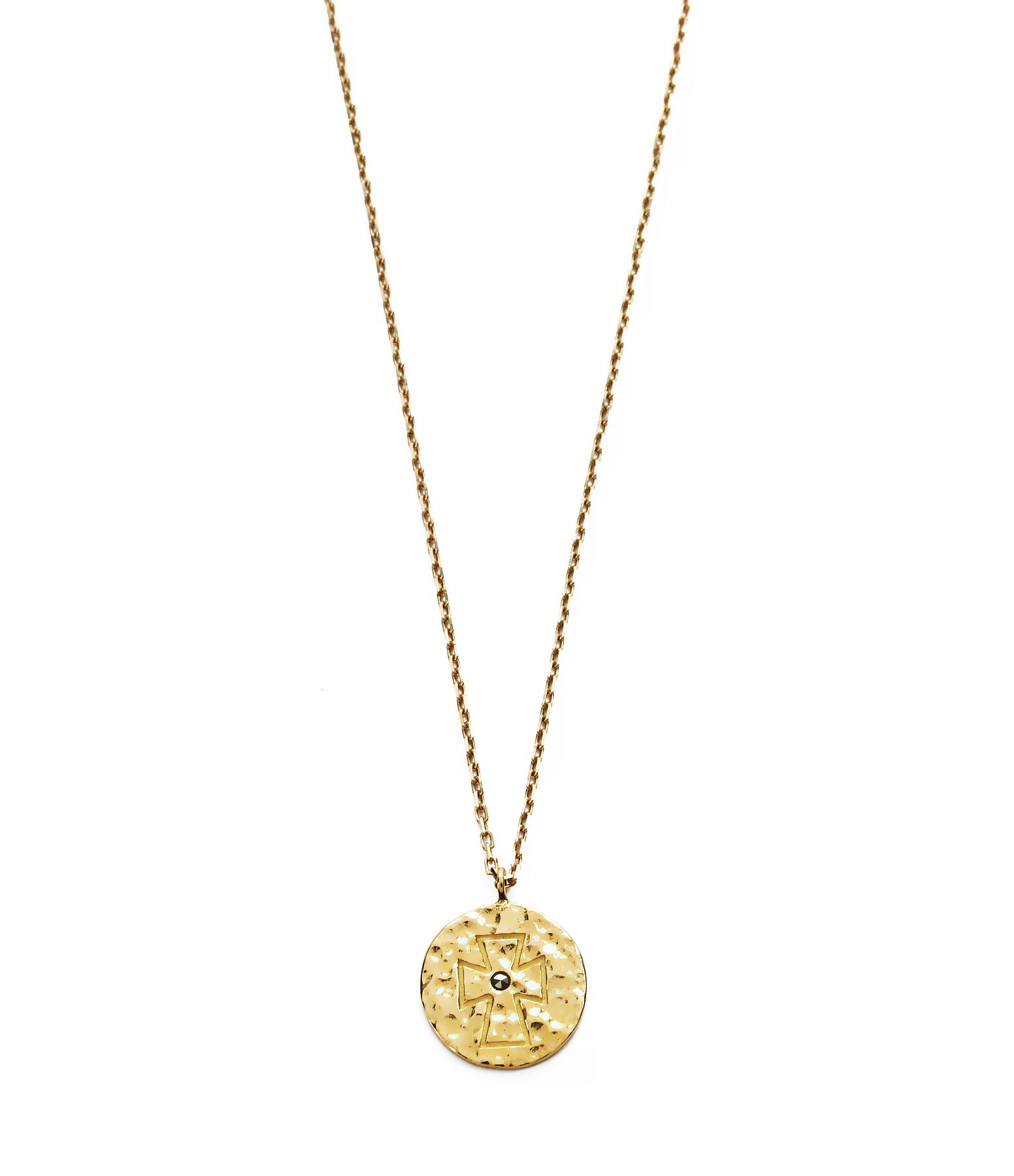 Collier Court Médaille Croix Ibiza 9K
