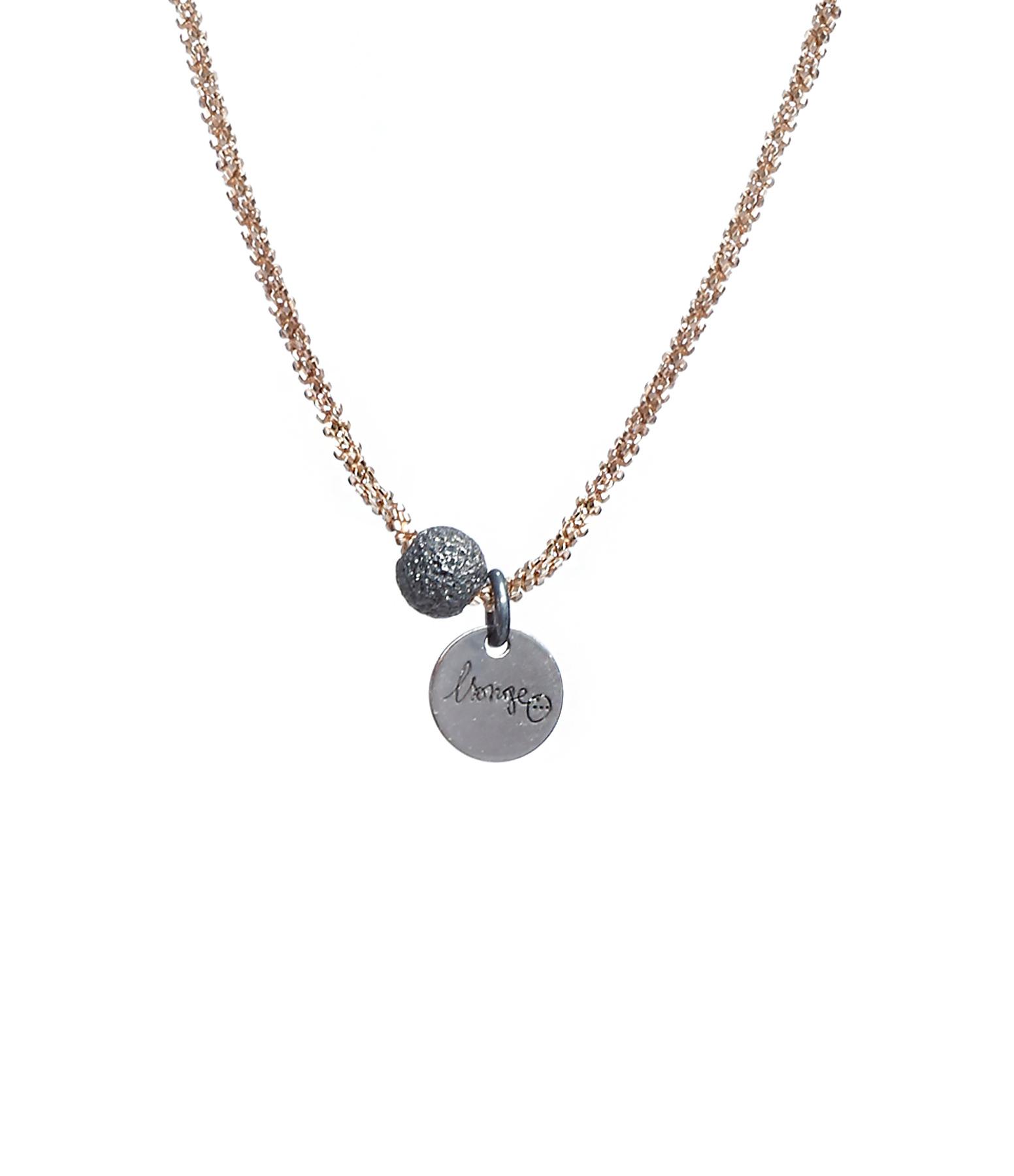 Collier Perle Argent Noir Plaqué Or