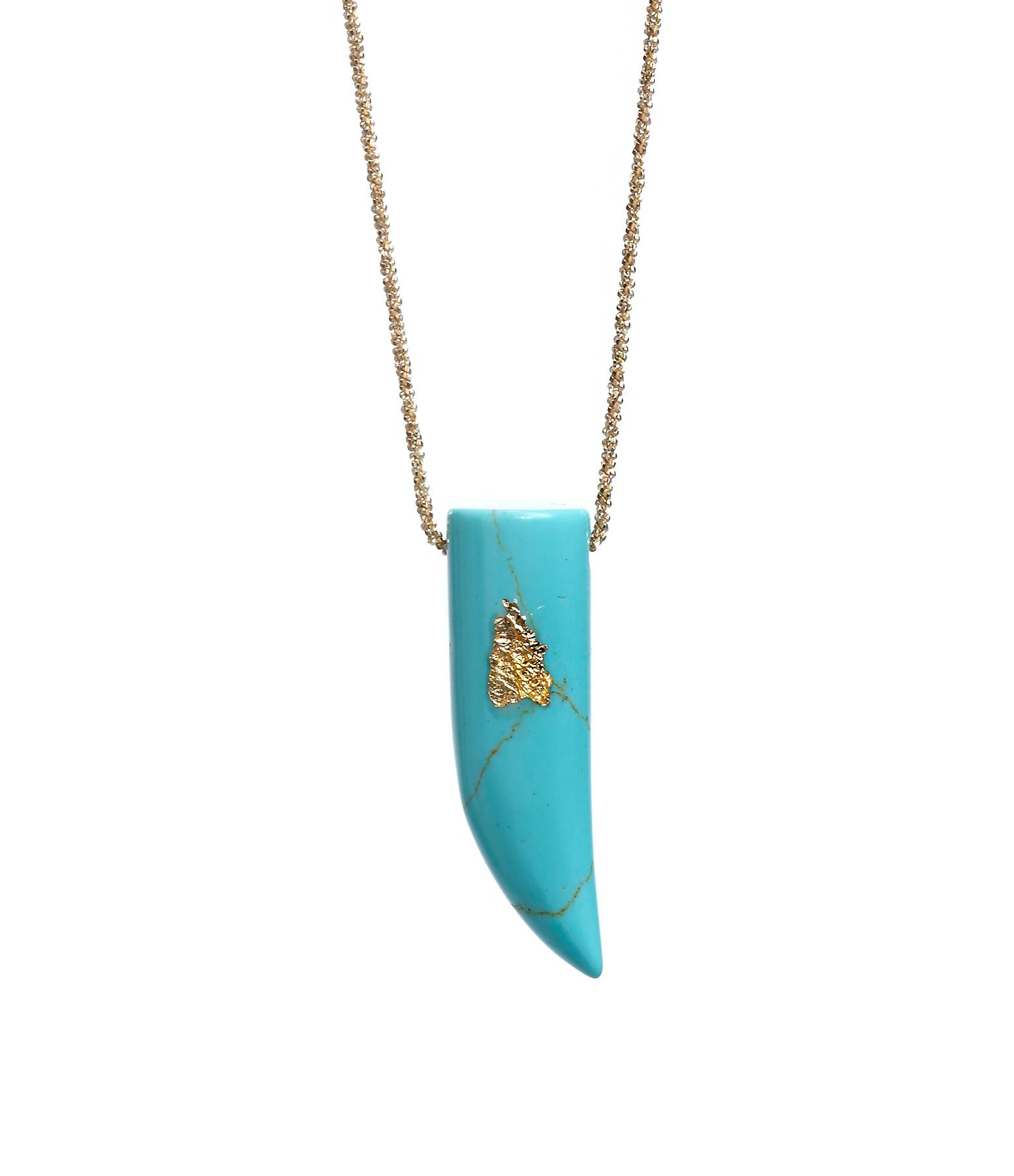 Sautoir Chaîne Corne XL Turquoise