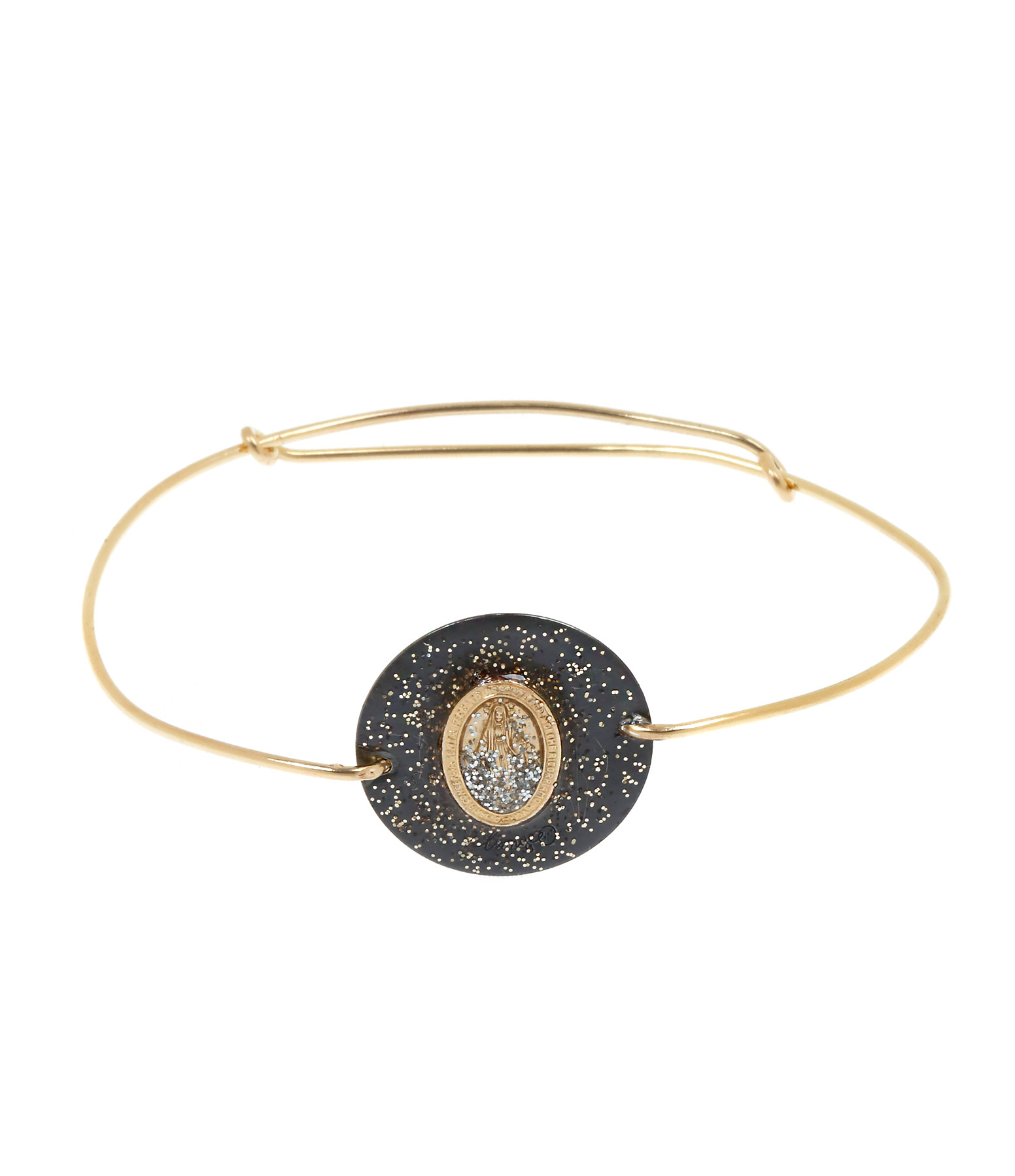 Jonc Médaille Madone Argent Noir