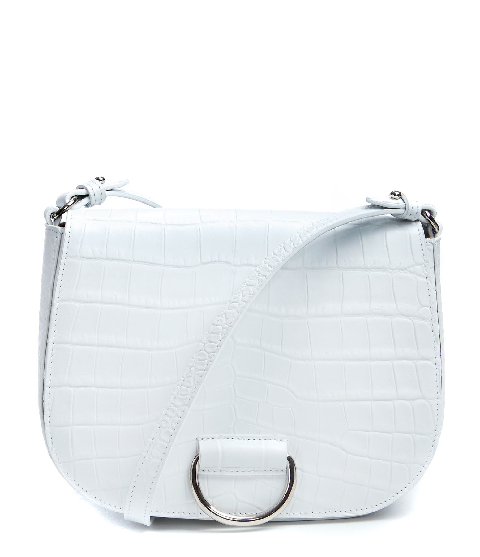 Sac Besace Saddle M Crocodile Effect Veau Blanc
