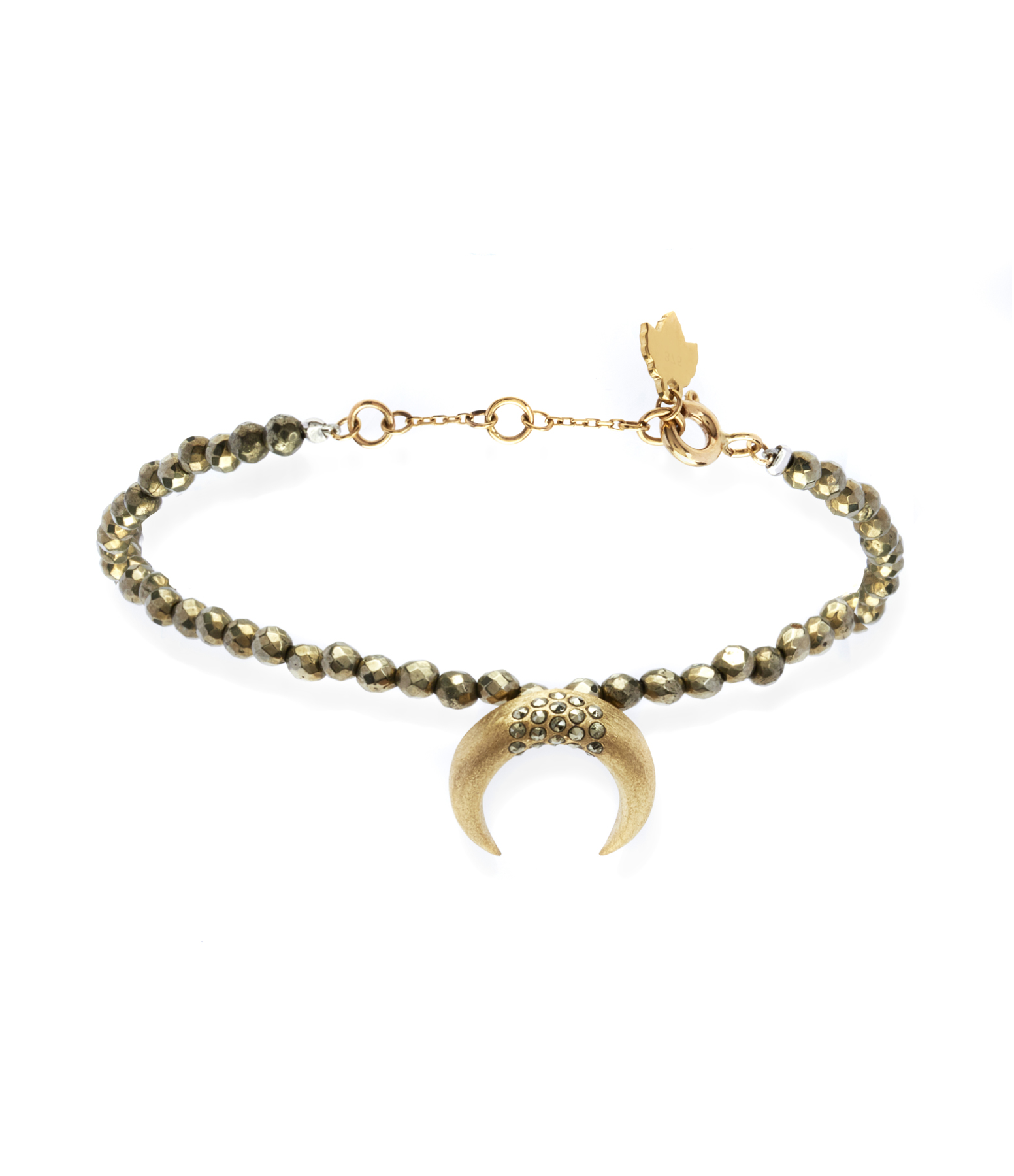 Bracelet Corne Lune Pyrite Antik Or Jaune 9K