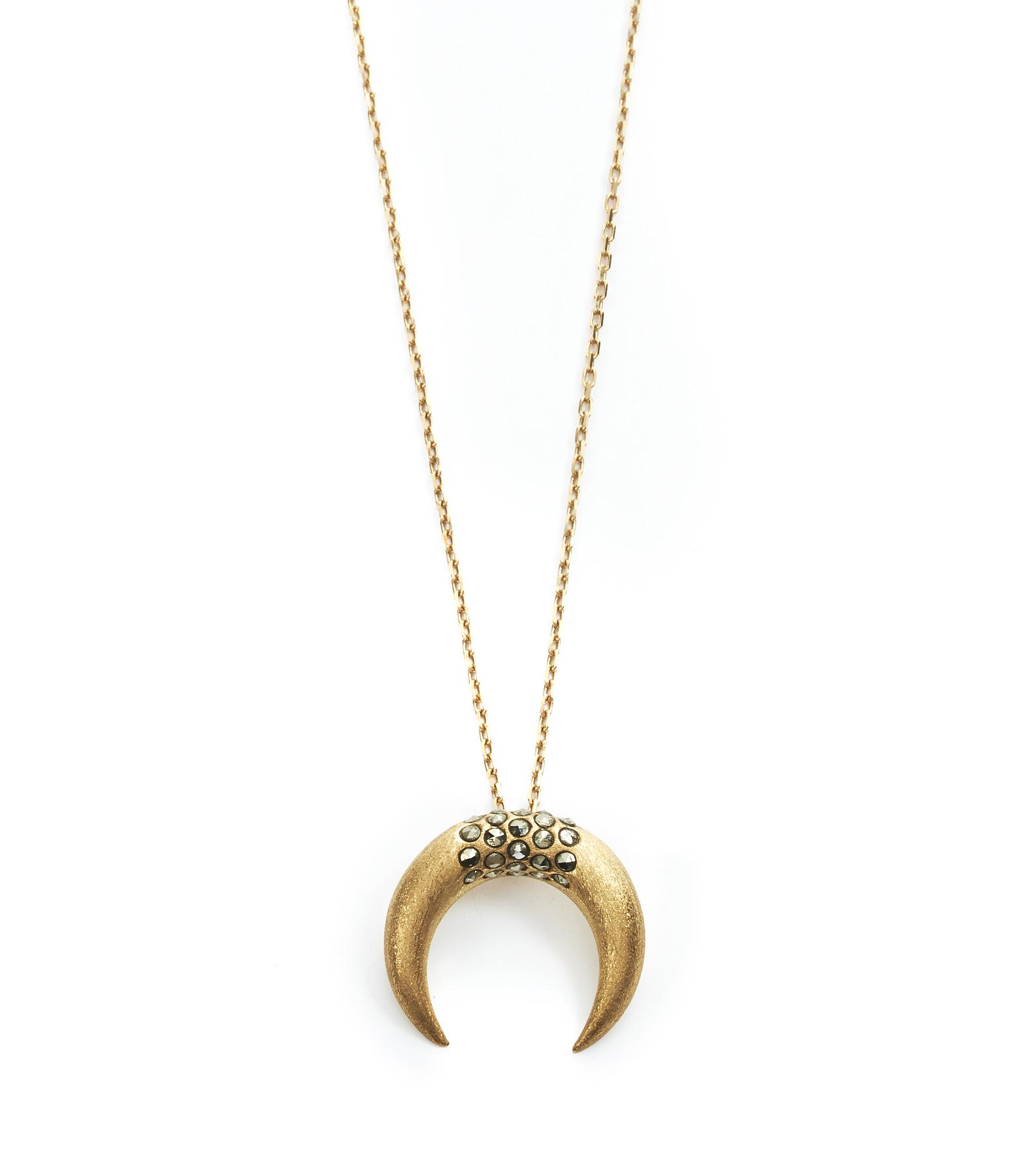 Collier Petite Corne Lune Antik Or Jaune 9K