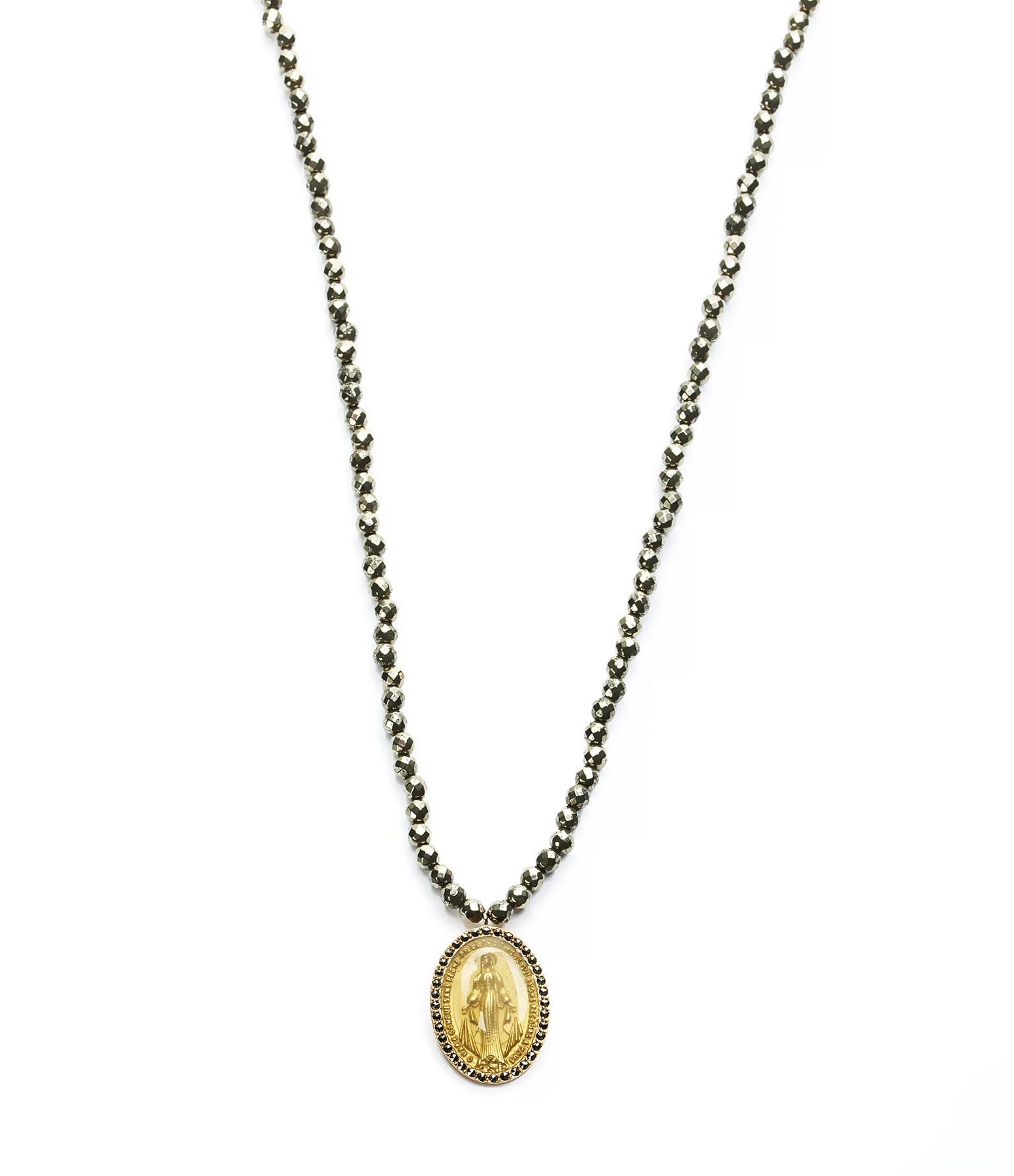 Collier Médaille Madone Ovale Marcassites 9K