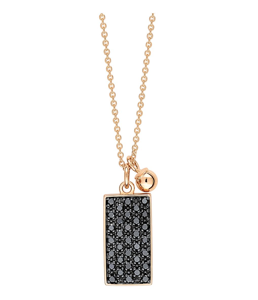 Collier Mini Ever Rectangle Diamants Noir