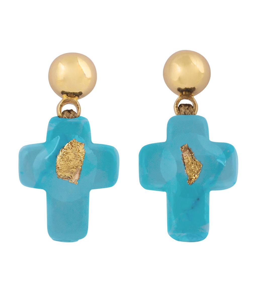 Boucles d'oreilles Croix Turquoise