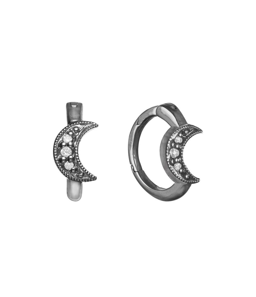 Mini Créole Petite Lune Diamants (vendue à l'unité)