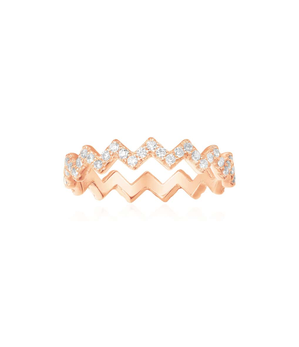 Bague Up and Down Argent Rose